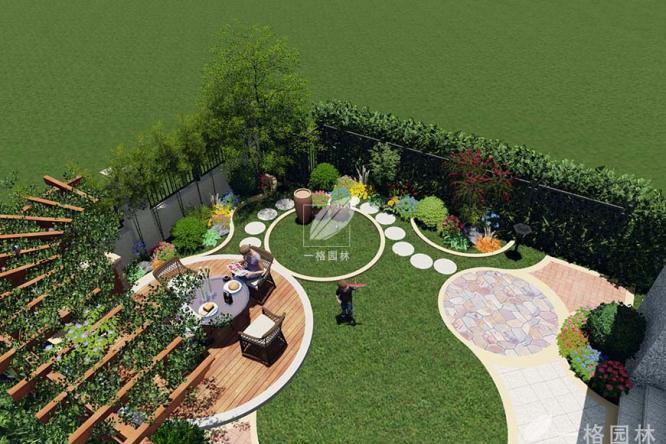 私家别墅花园景观中花架的设计与点缀