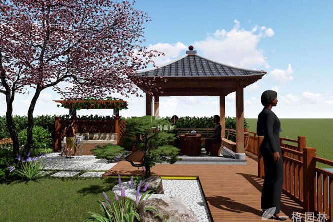 别墅花园景观里的汀步设计