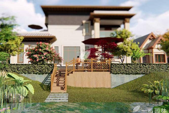 私家庭院景观挡土墙的装饰效果