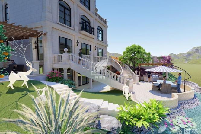 别墅花园设计装修需要注意花园里道路质感表现