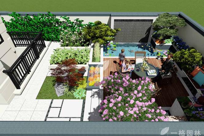 中式别墅花园庭院中的亭廊结构